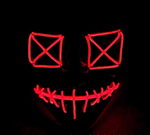 Queta Halloween Masken 2019 Version LED Leuchten Maske Halloween Accessoires Karneval Maske für Festivalparty Cosplay Batterie Angetrieben (Rot) (Halloween-maske 2019 Rote)