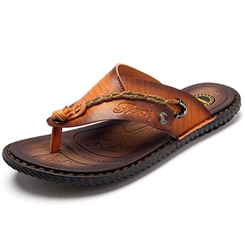DANDANJIE Herren Leder Flip Flops Mode lässig Strand Sandalen im Sommer atmungsaktive Hausschuhe (Color : Brown, Größe : 43) Velcro-strap Sandalen