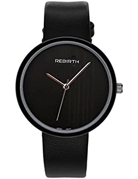 JSDDE Uhren,Elegant Armbanduhr Japanische Uhrwerk Ultra Dünn Gehäuse Gestreift Dial Lederband 3ATM Analog Qaurzuhr...