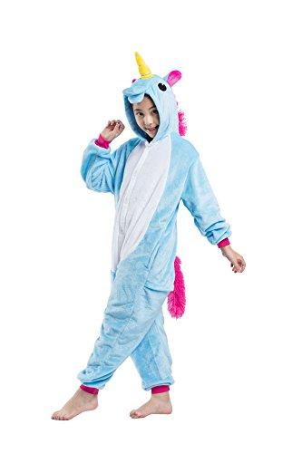 DarkCom Kinder Flanell Kigurumi Onesies Einhorn Cosplay Jumpsuit Cute Outfit Nachtwäsche Blau