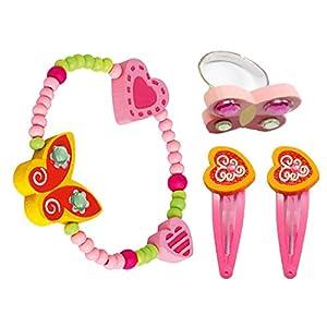 Bino 4 TLG. Set Holzschmuck Mädchenschmuck Kinderschmuck Motiv Schmetterling Gelb – Armband Ring 2 Haarspangen