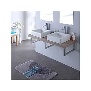 Console double vasque avec vasques elec blanches 120 cm gris lamelle