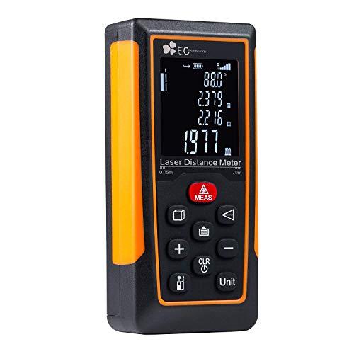Metro Laser, EC Technology HD 70m/229ft Telemetro Laser Professionale Portatile Misuratore digitale display, per Lunghezza/Area/Volume/Misurazione Continua
