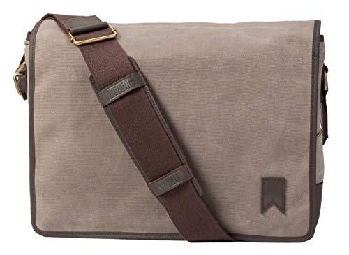 Navali Mainstay Laptop Umhängetasche Messenger Bag aus gewachstem Segeltuch mit Leder - Steingrau (Leder Messenger Mainstay Bag)