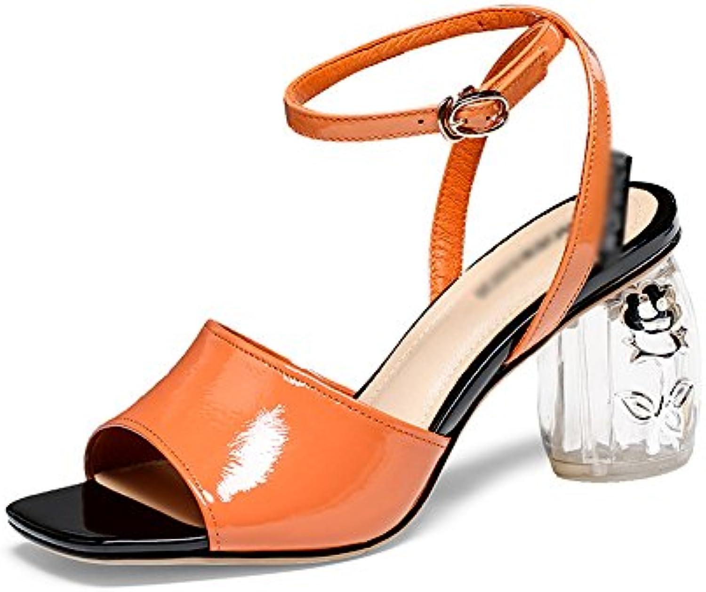 Sandali GYHDDP Scarpe da Donna Basse a Tacco Medio Tacco Alto da Donna Estivi Aperti a Punta Cinturino alla Caviglia... | Aspetto Elegante  | Uomo/Donne Scarpa