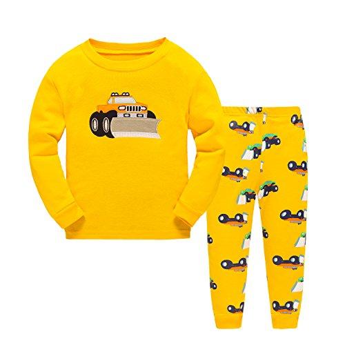 DAWILS Jungen Zweiteiliger Schlafanzug Gelb Traktor 100% Baumwolle Pyjamas 116 (Hose Pyjama Gelbe)