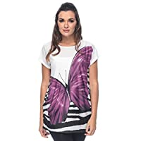 ZmuruD Purple Jersey Round Neck Blouse For Women