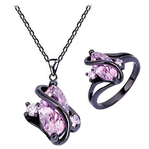 Yazilind Stylish Jewellery Set Pink Crystal Halskette Anhänger & Ringe Schmuckset Geschenk Her 17.2