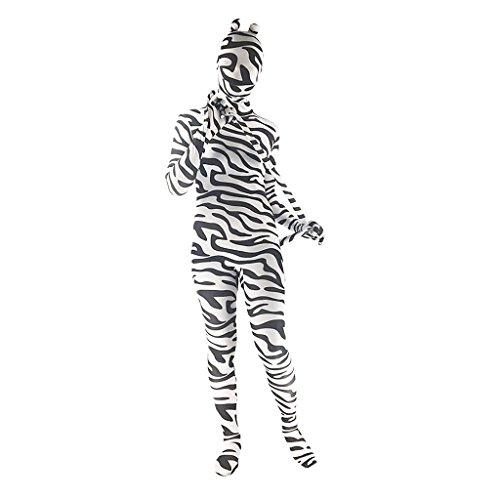 Prettyia Ganzkörper Weiß Schwarz Streifen Zebra Bodysuit Zentai Ganzkörperanzug Spandex Anzug Suit Funsuit Ganzkörper Kostüm - Weiß schwarz, XXXL