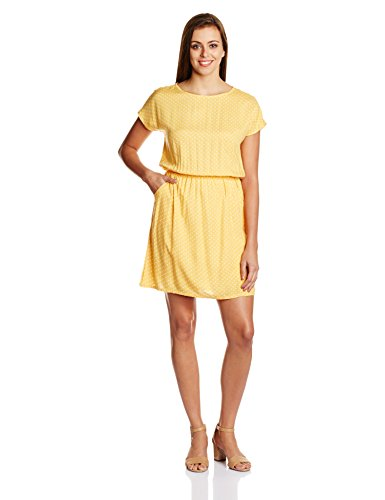 People Women's A-Line Dress (P20402064965172_Marigold_M)  available at amazon for Rs.598