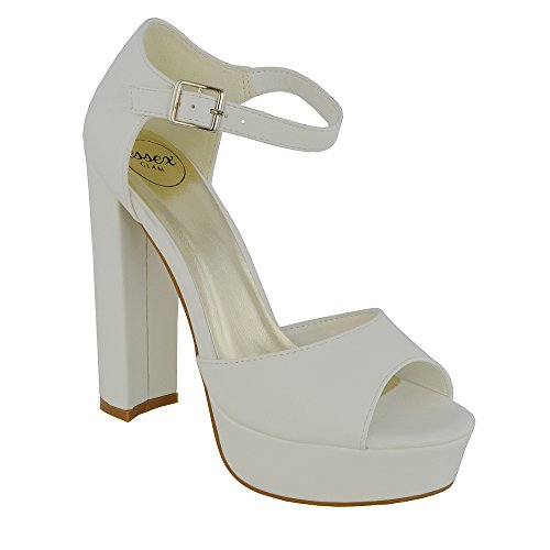 ESSEX GLAM Scarpa Donna Sintetica Sandalo Peep Toe Cinturino Caviglia Tacco Alto Plateau Festa Bianco Pelle Sintetica