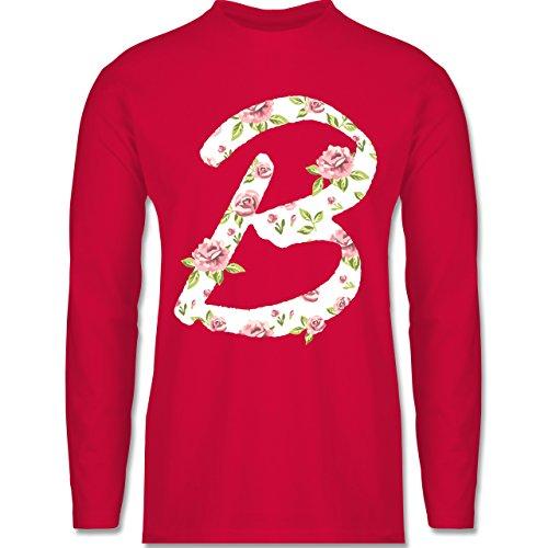 Shirtracer Anfangsbuchstaben - B Rosen - Herren Langarmshirt Rot