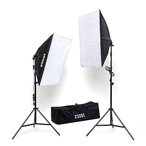 ESDDI Kit Luce Continua illuminazione Studio Fotografico Set 2 X 50x70cm Softbox + 2 X 85W Lampadine Daylight + 2 Cavalletti (Trepiedi Regolabili)+ Borsa