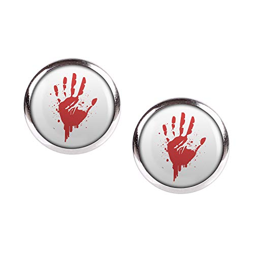 Agent Cia Kostüm - Mylery Ohrstecker Paar mit Motiv Hand-Abdruck Blut Rot Hand silber 12mm