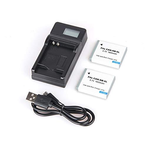 Prima05Sally 2 stücke 1600 mAh NB-6L NB 6L NB6L Akku + LCD USB Ladegerät Für Canon IXUS 310 SX275 SX280 SX510 200 105 210 300 S90 S95 SD1300 (Akku-ladegerät Canon Powershot)