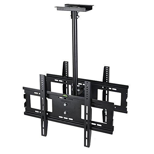 """unho TV Deckenhalterung Neigbar Höhenverstellbar für Zwei Monitoren an Flachdach oder Dachschrägen für LED LCD OLED Plasma 32""""-65"""" bis VESA 600x400mm 30kg"""