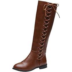 POLP Botas Mujer Invierno con Cordones Botas de Cuero de tacón Alto y Rodilla Botas de algodón con Cremallera Zapatos de Mujer Planos con Terciopelo Zapatilla Alta