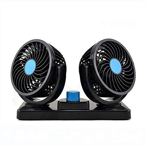 Fan Ventilateur à Double Tête Voiture, Universel D'Allume-Cigarette Voiture 12v/24v,Voiture Ventilateur Refroidissement Silencieux,Mini Ventilateur de Tableau Bord/Ventilateur de SièGe ArrièRe Voitur