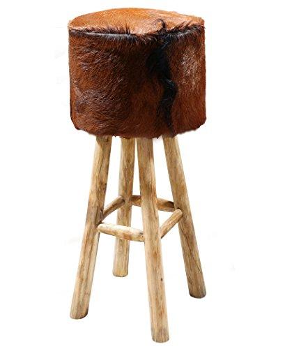LioLiving®, runder Barhocker Steffi im Vintage-Look mit echtem Ziegenfell in braun (#400010)