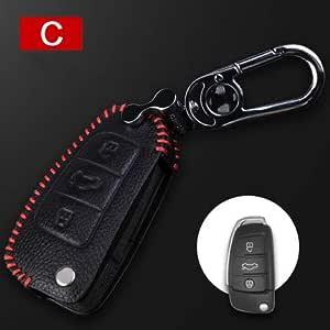 Tuqiang Hand Nähen Echt Leder Schlüsselcover Autoschlüssel Hülle Schutz Hülle Für Falten Schlüssel 1 Stück Auto