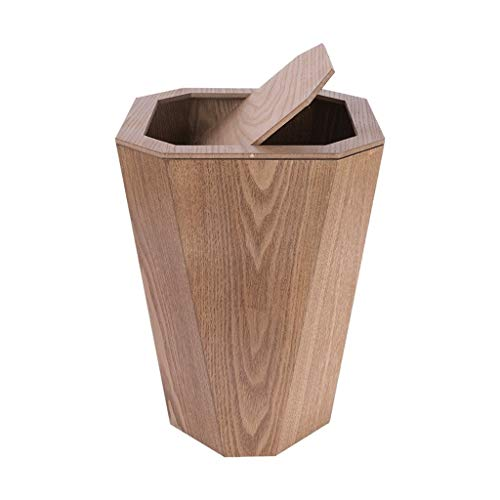 Abfalleimer Holz Mülleimer Rechteck Papierkorb Müll Rechteck Edelstahl Mülleimer Papierkörbe Tretauto 6.5Gallon Shake mülleimer (Color : Light Brown)
