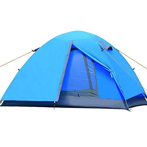 Upgrow Camping Zelt Doppelschicht Wasserdicht Wurfzelt Aluminiumstangen Leichtgewichtig Hiking Zelt für 2-3 Personen (Blau)