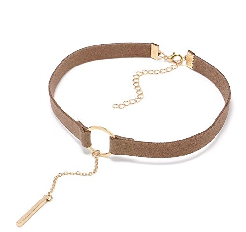 Gothic Choker Necklace with Gold Ring Velvet Choker Leather for Women and Girls