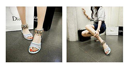 Open Toe Sandalen Ankle Starp Sommer Perle Breathable Net Garn Slope Sandalen Weibliche Schuhe 32-43 Größe Blue