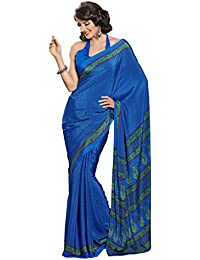 Ligalz Women's Blue Crepe Silk Saree (Special Discounted Price Only For THE GREAT INDIAN FESTIVAL)