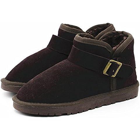 Bajo el invierno cilindro de botas para la nieve tendón en el extremo de la hebilla de cuero botas de las mujeres calientes planas con botas calientes , chocolate , 40