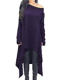 7cbfbeea90b ZANZEA Women s Sexy Casual Spring Loose Long Sleeve Asymmetric Knit Jumper  Dress Plus Size