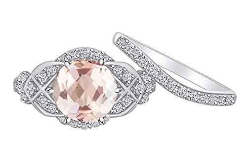 AFFY Verlobungsring aus massivem Weißgold (14 Karat) mit rundem Morganit und natürlichen Diamanten, Vintage-Stil (Vintage-ring Mit Morganit)