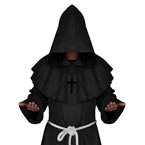 Halloween Kostüme Mönch Mantel Kostüm Erwachsene Mittelalterlichen Mönch Mit Kapuze Priester Deluxe Robe Cape Party - Deluxe Schwarze Kapuzen Robe Kostüm