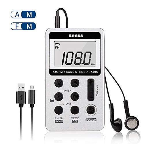 Digitales Pocket Radio Tragbare Radio Mini AM FM Taschenradio 2 Band Stereo Radio DSP Digital Tuning Receiver Kopfhörer Wiederaufladbares Batterie mit Kopfhörer Ideal für Walking (Pocket Radio Mini Fm Am)