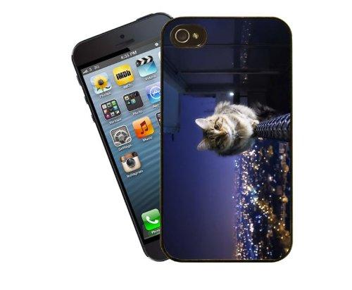 Katze Telefon Fall, Design 6-New York gestromt Katze Leben Live On The Edge-Für Apple iPhone 4/4S-Cover von Eclipse Geschenk Ideen