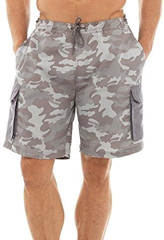 Mens Camo imprimer Cargo Style Swim Shorts avec doublure en maille et élastiqué Grey taille l