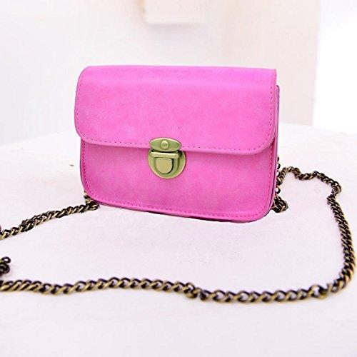 TOOGOO(R) Messaggero delle donne del nuovo di modo catena borse a tracolla in pelle PU Bag di colore della caramella Crossbody Bag Mini - Giallo Rosa rossa
