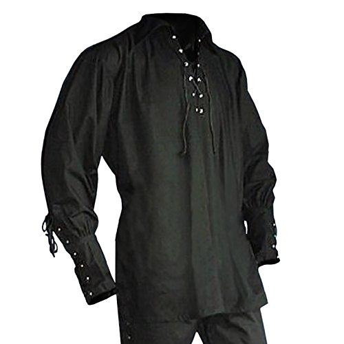Piratenhemd mit breitem Kragen Gr. XL Gothic Mittelalter schwarz 895 (Schwarzes Piraten Hemd Kostüm)