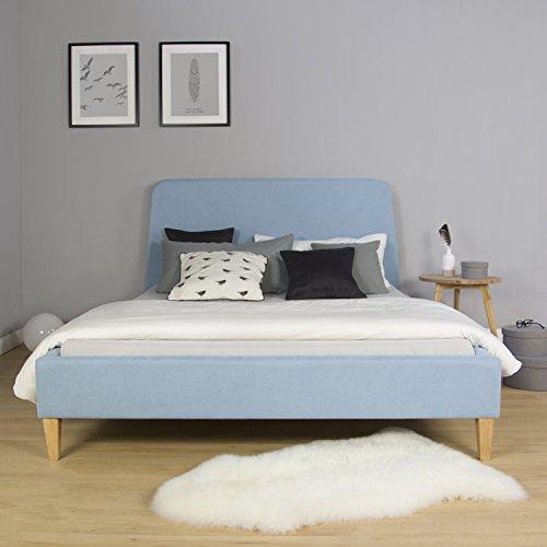 Homestyle4u 1832 Polsterbett 140 x 200 cm Doppelbett Stoffbett Bettgestell mit Rückenlehne & Lattenrost Bett Blau