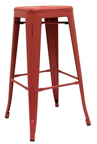 regalosMiguel - Taburete Industrial Torix Rojo Envejecido (Inspirado en la Línea Tolix)