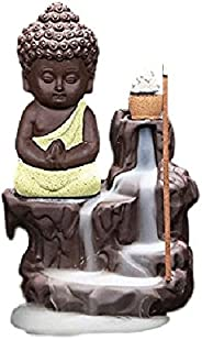 Decora Craft Poly Resin Buddha Incense Smoke Burner Fountain/Idol Gifts Item with 10 Cones (Yellow,Standard)
