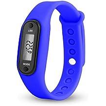 Relojes Run Step Watch Pulsera Podómetro Calor Contador Digital LCD Walking Distance Hombre Relojes (C)