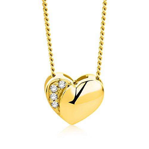 Orovi Halskette Damen Kette mit Herz Gelbgold 18 Karat / 750 Gold Diamant Brilliant 0,02 ct