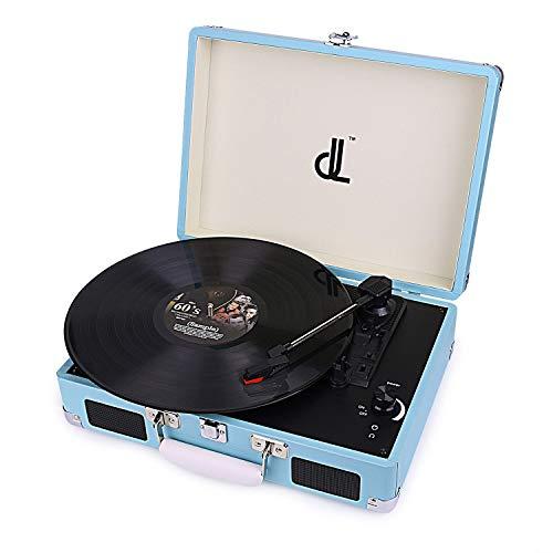 D&L Vinyl-Spieler mit 3 Geschwindigkeiten 33/45/78 Tragbarer Vintage Holz Koffer Plattenspieler mit eingebauten Stereo-Lautsprechern, PC-Recorder, Kopfhöreranschluss, Cinch-Line Out (639PW-2) - Holz Plattenspieler Vinyl