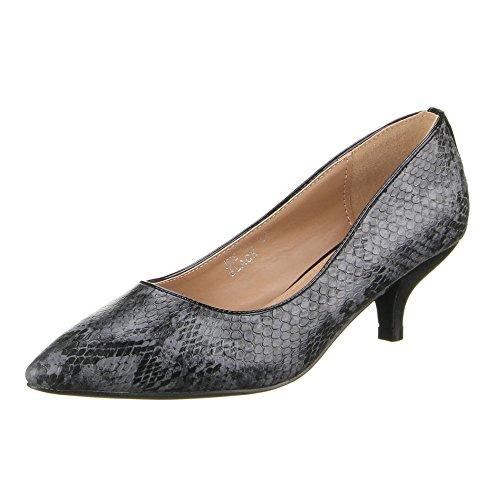 Damen Schuhe, JNS-002, PUMPS Schwarz Grau