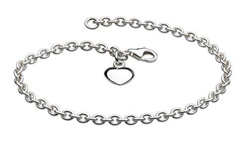 Dew Women's Sterling Silver Solid Heart Charm Bracelet of Length of 7.5 inch