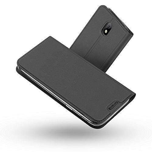Radoo Galaxy J7 2017 Hülle, Premium PU Leder Handyhülle Brieftasche-Stil Magnetisch Klapphülle Etui Brieftasche Hülle Schutzhülle Tasche für Samsung Galaxy J7 2017 (Schwarz grau)