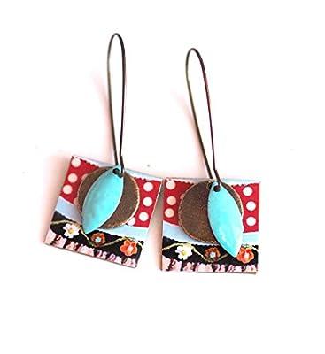 Boucles d'oreilles, pendants, fantaisie, rouge et bleu, petit pois, 60's, fait mains