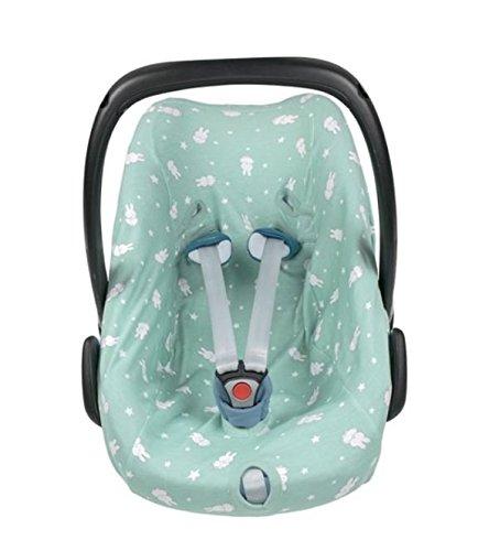 Haton Schonbezug Jersey für Babyschale 0+ passend für Maxi Cosi, Römer u.a. (Häschen mint)