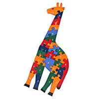 MagiDeal 26 Pieces Wooden Alphabet Number Jigsaw Puzzle Blocks Kids Preschool Letter A-Z Learning Toy Hand-eye Coordination Toy Giraffe